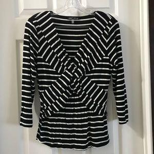 Cable & Gauge Black/White Stripe 3/4 sleeve blouse